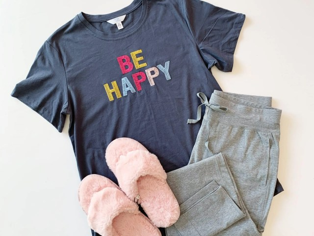 """Time and Tru """"Be Happy"""" Graphic Tee, Athletic Works Knit Pant, and Pink Fuzzy Slippers"""