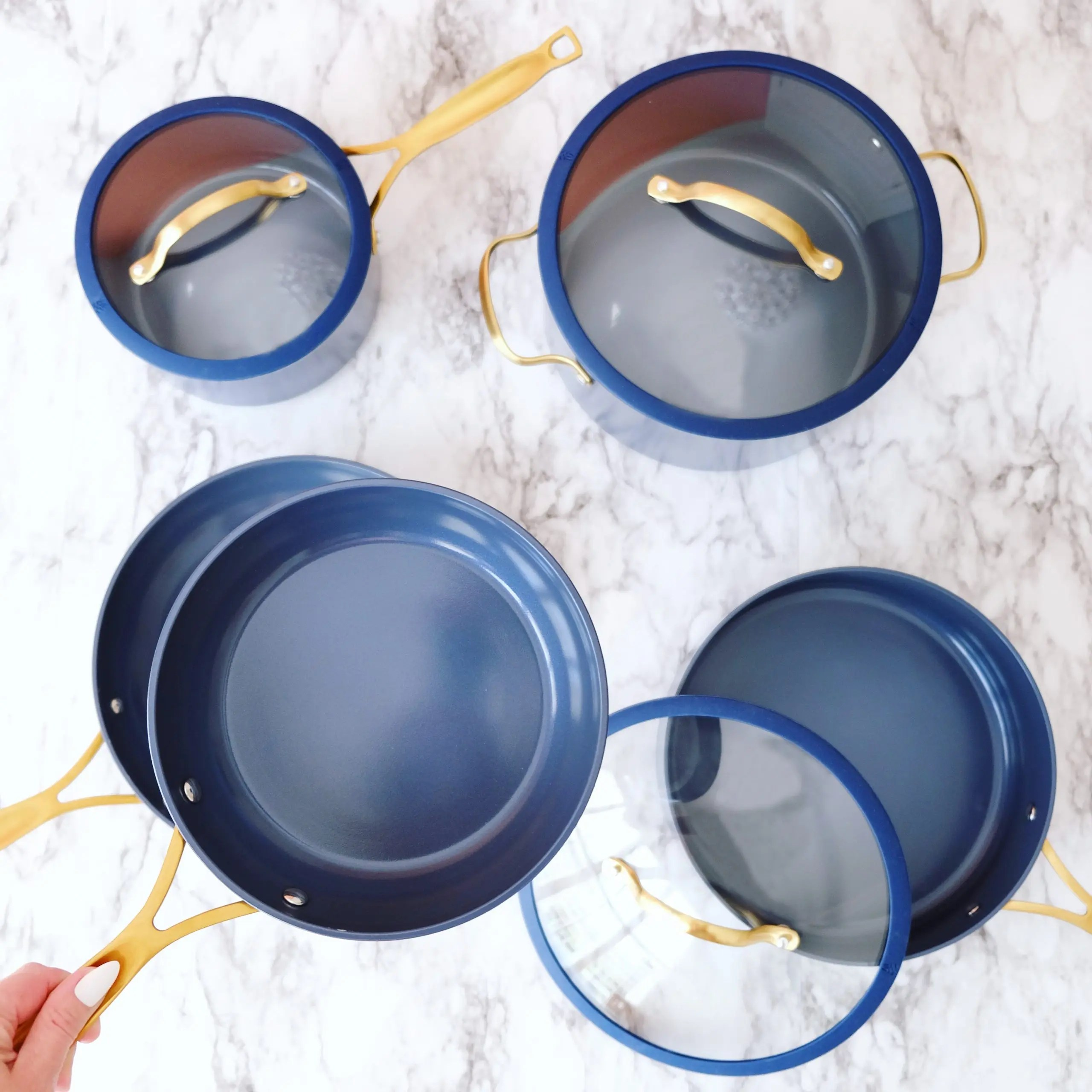 thyme and table navy cookware set