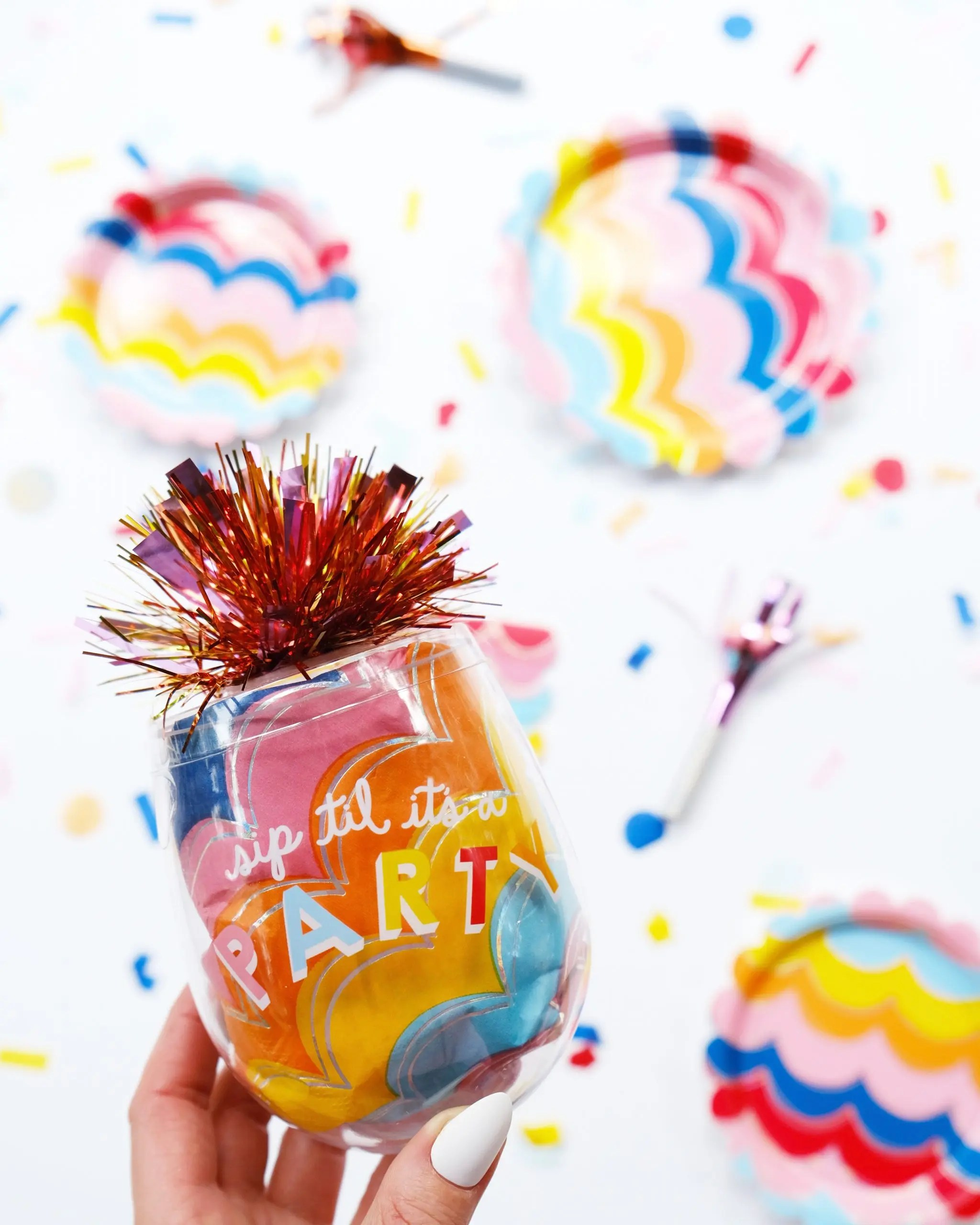 packed party at walmart - colorful party supplies