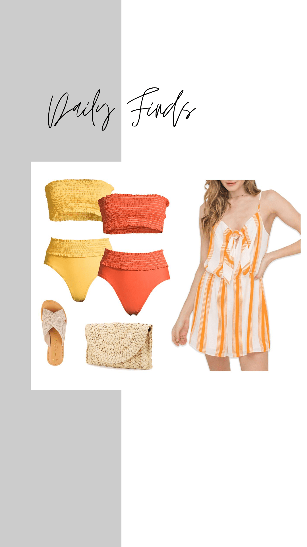 XOXO 2 piece swimsuit with bandeau top + lush stripe romper
