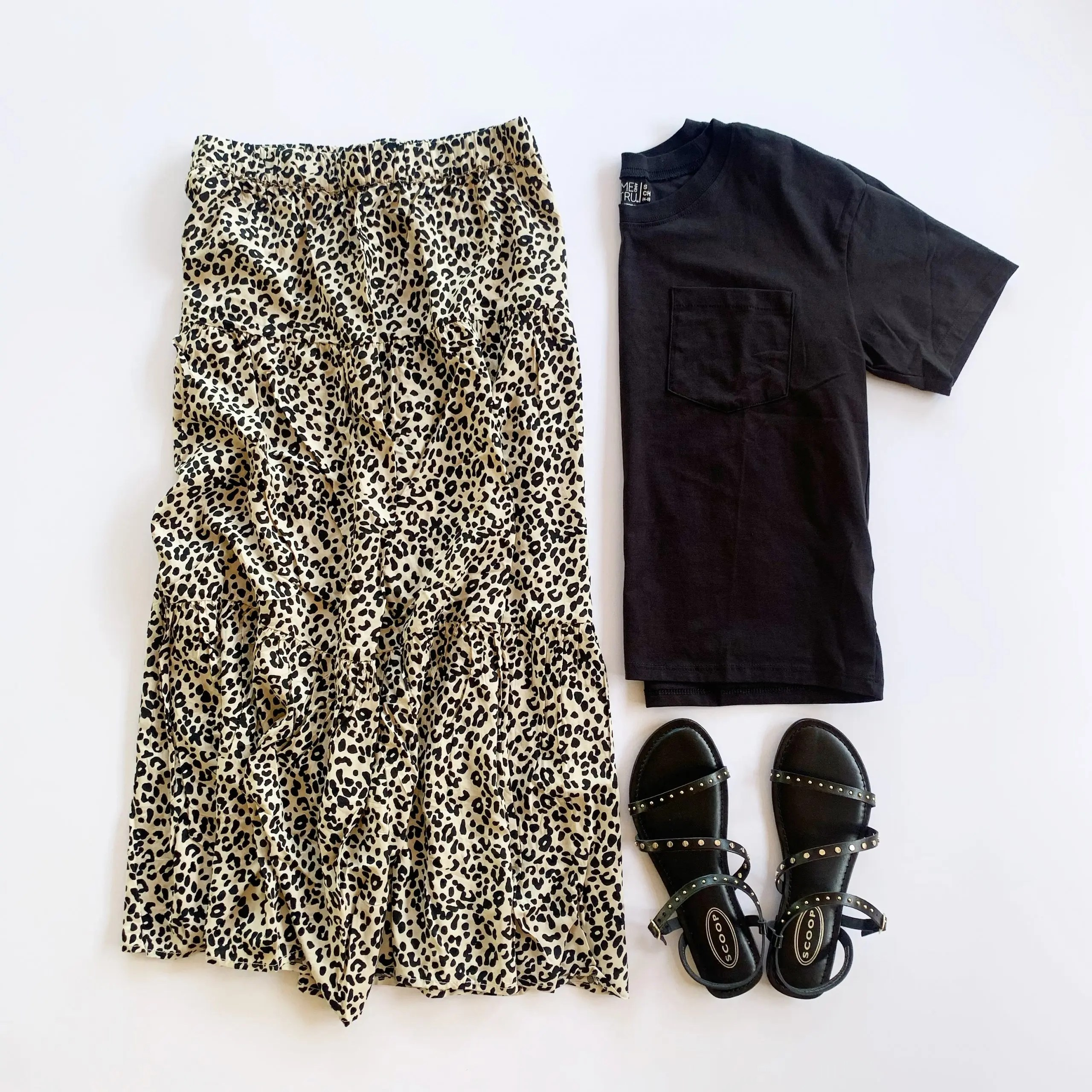 leopard print skirt, time and tru boyfriend tee, scoop asym sandals