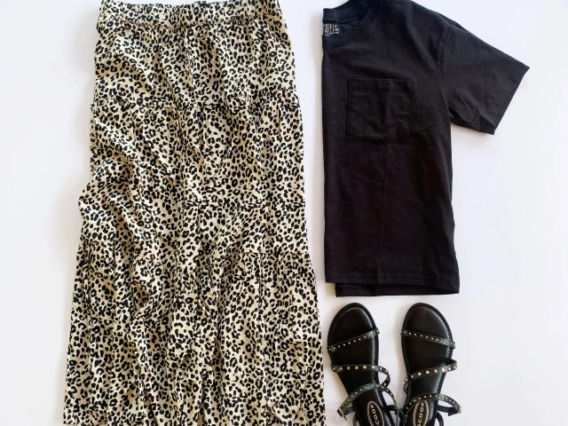 Leopard Print Midi Skirt, Time and Tru Boyfriend Tee, and Scoop Sandals