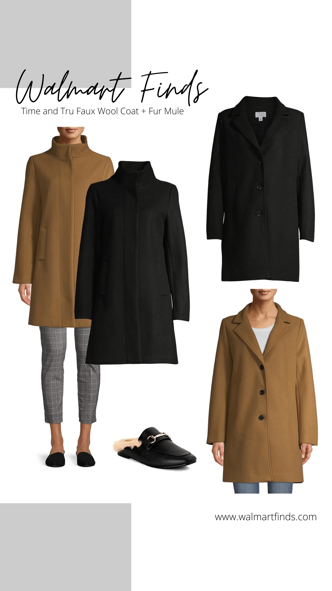 time and tru faux wool coat and fur mules