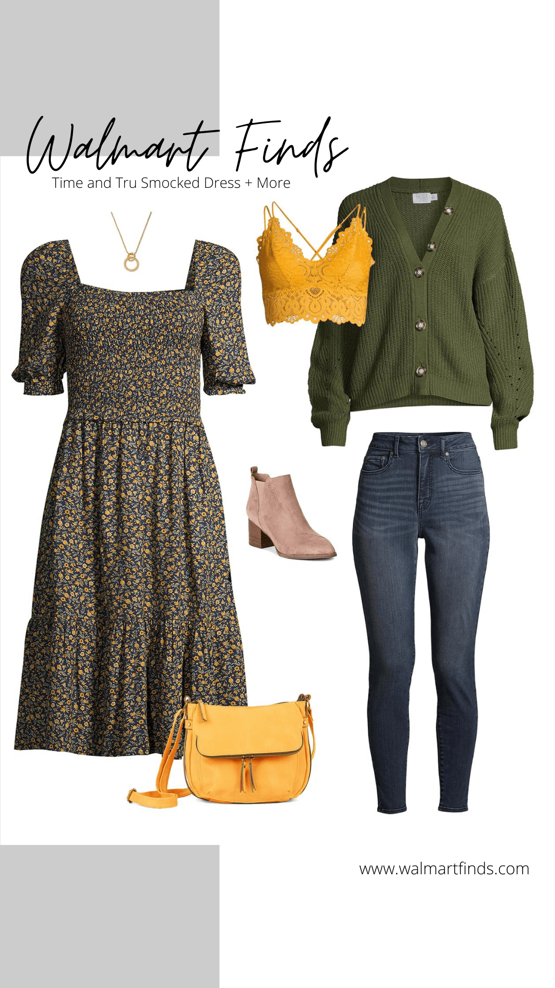 Time and Tru Smocked Dress, boyfriend cardigan, skinny jeans, lace bralette and more