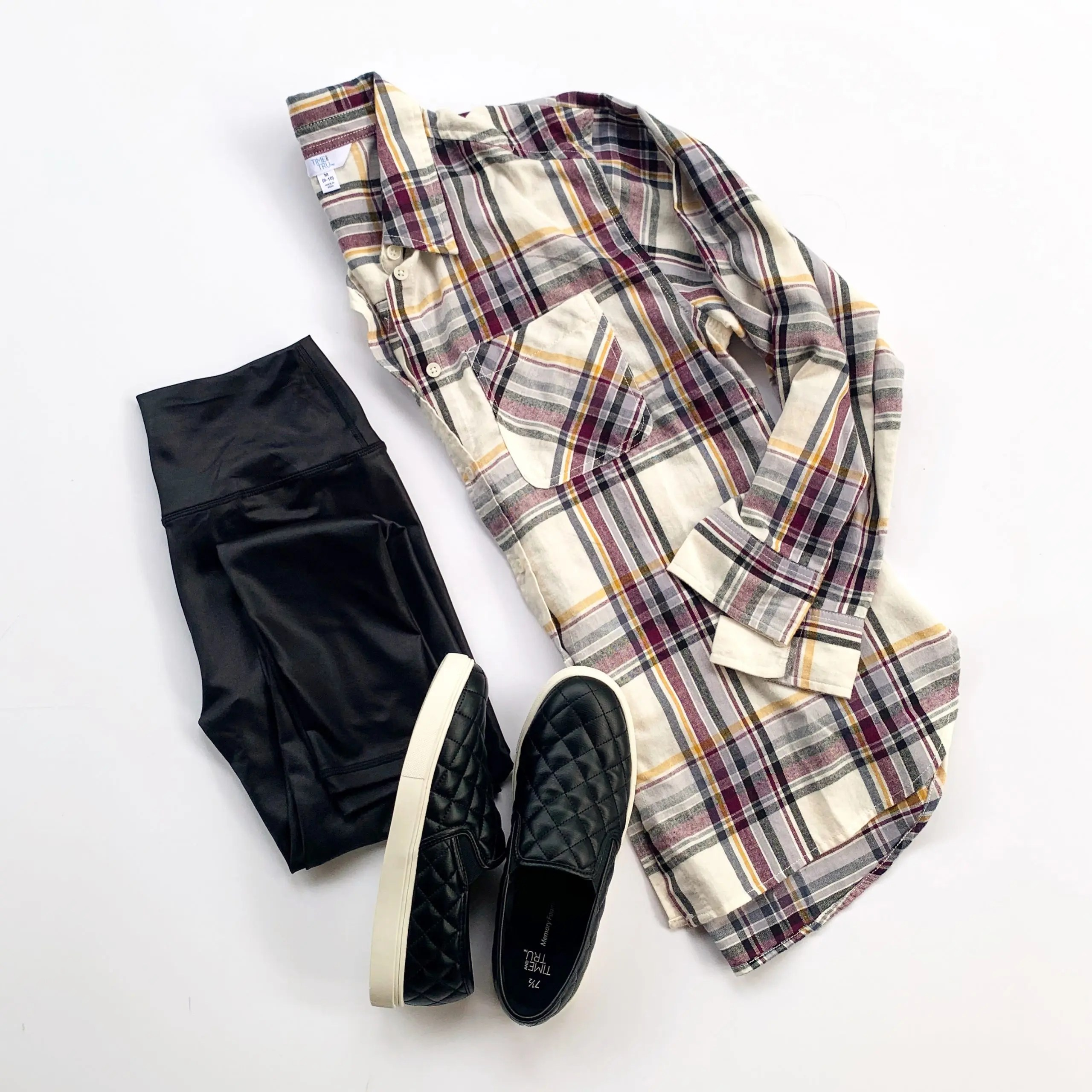 Scorpio Sole Faux Leather Leggings, Time and Tru Plaid Shirt and Quilted Sneakers