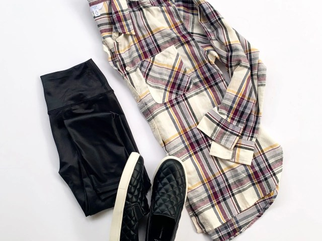 Scorpio Sol Faux Leather Leggings, Time and Tru Plaid Shirt and Sneakers