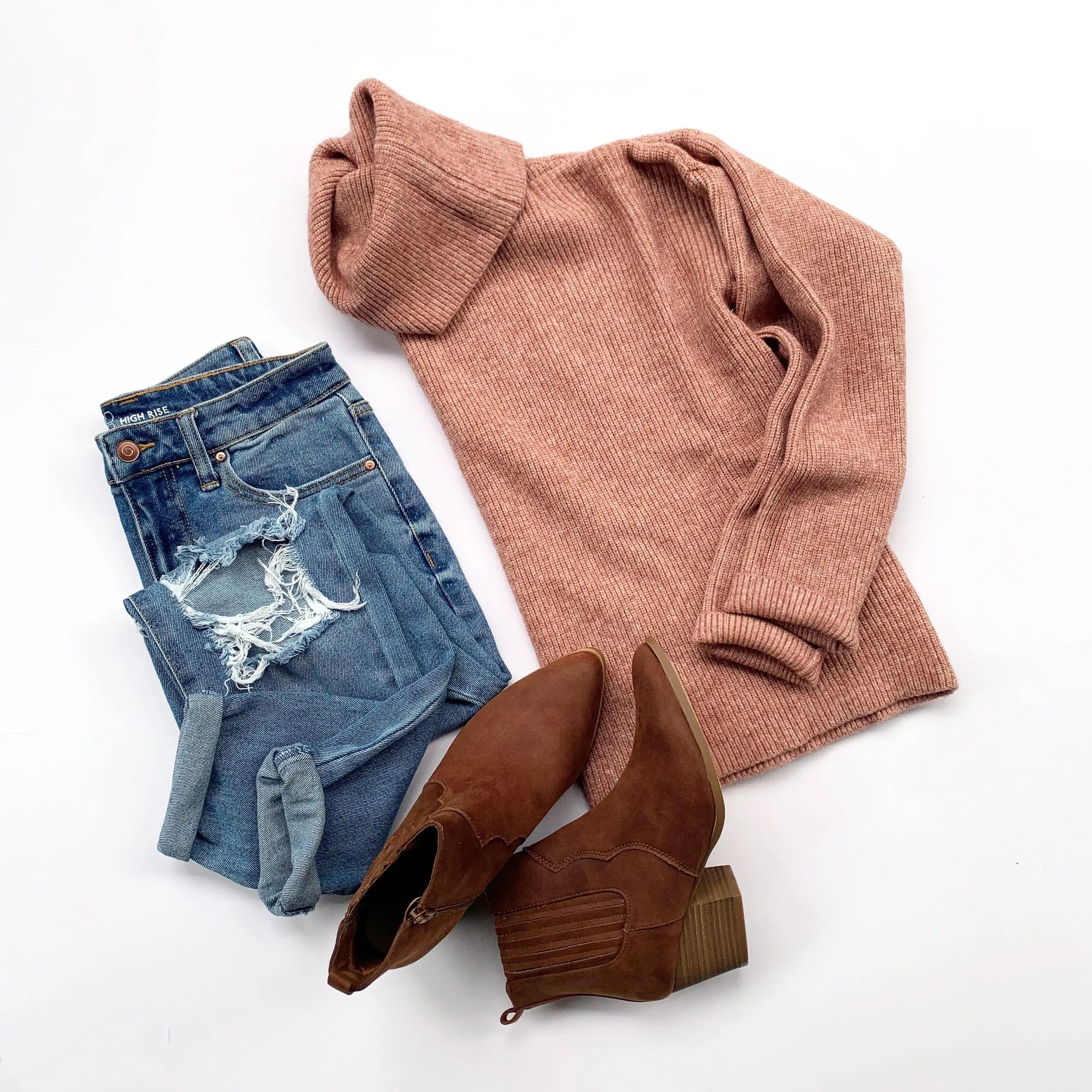 Dreamers by Debut Cowl Neck Sweater, No Boundaries Mom Jeans, and Time and Tru Western Bootie