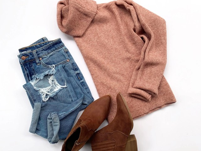 Cowl Neck Sweater, Mom Jeans, and Western Bootie