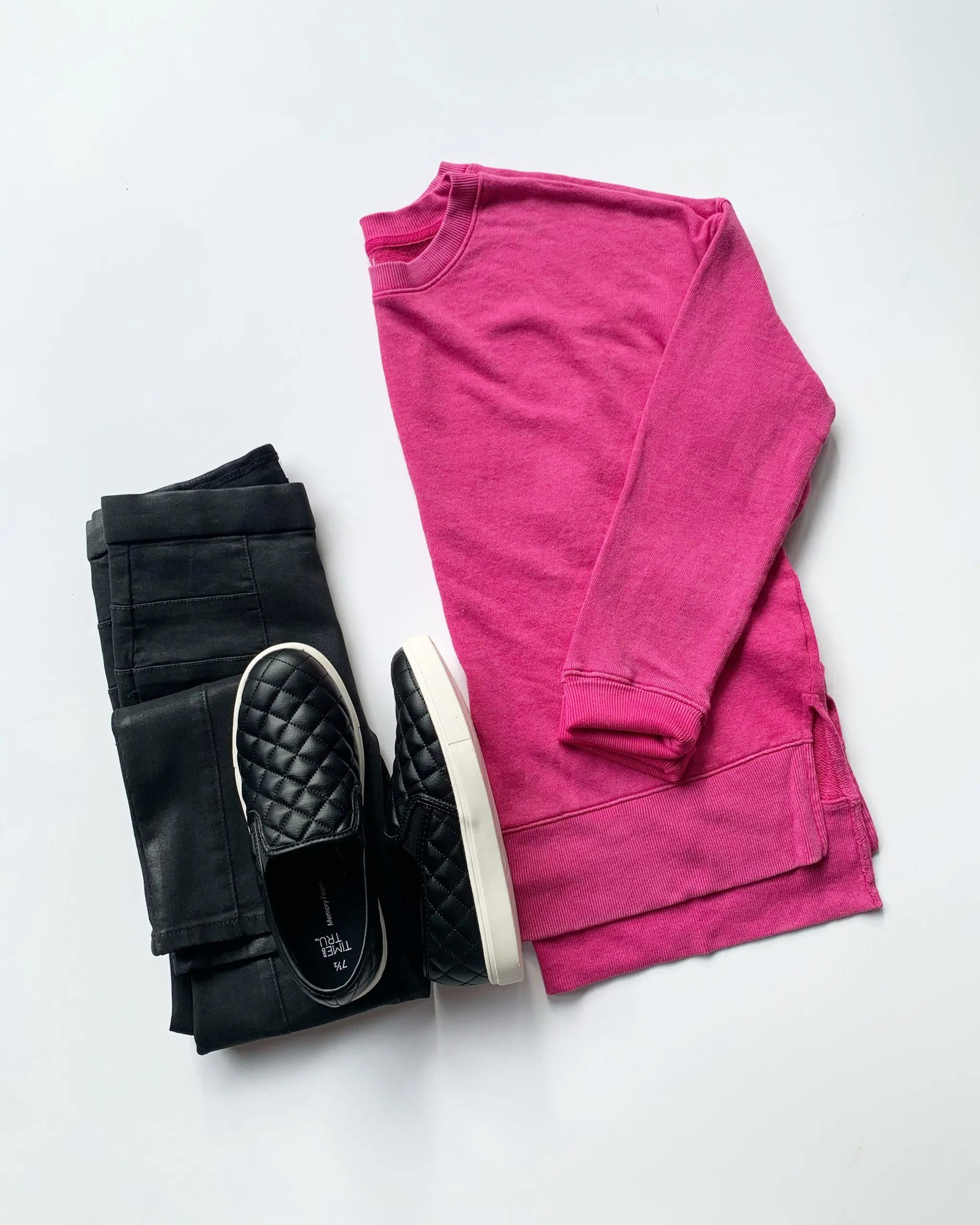Time and Tru Crewneck Sweatshirt and Quilted Slip-Ons + Sofia Vergara Coated Jeans