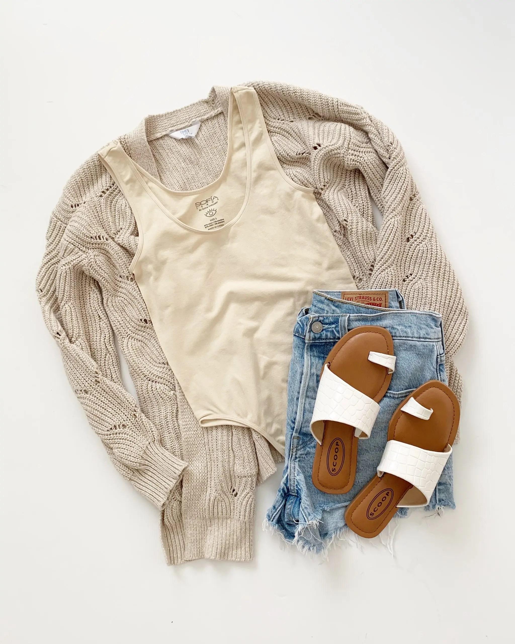 sofia vergara scoop neck tank bodysuit - scoop sandals, levi's 501 shorts , time and tru cardigan