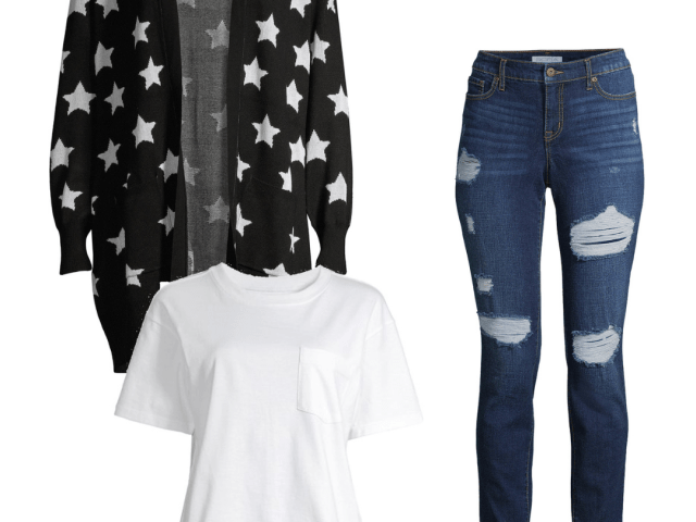 Heart N Crush Star Cardigan and Sofia Vergara Boyfriend Jeans