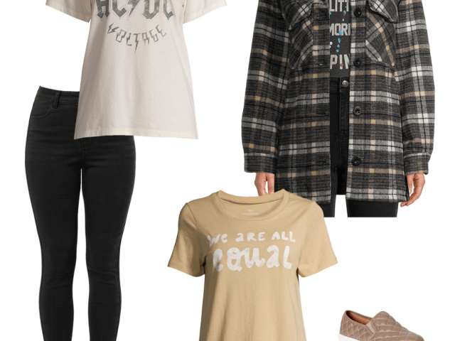 Oversized Plaid Shirt Jacket and New Graphic Tees