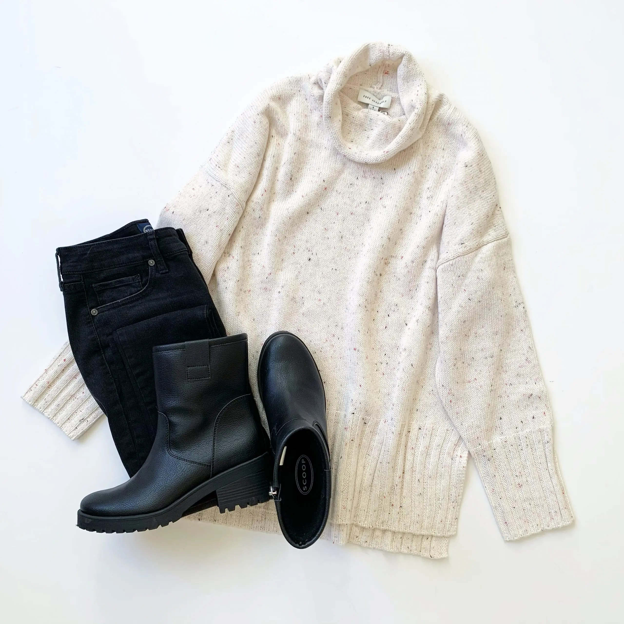 Free Assembly Cowl Turtleneck Sweater, Scoop High-Rise Skinny Jeans and Lug Boots