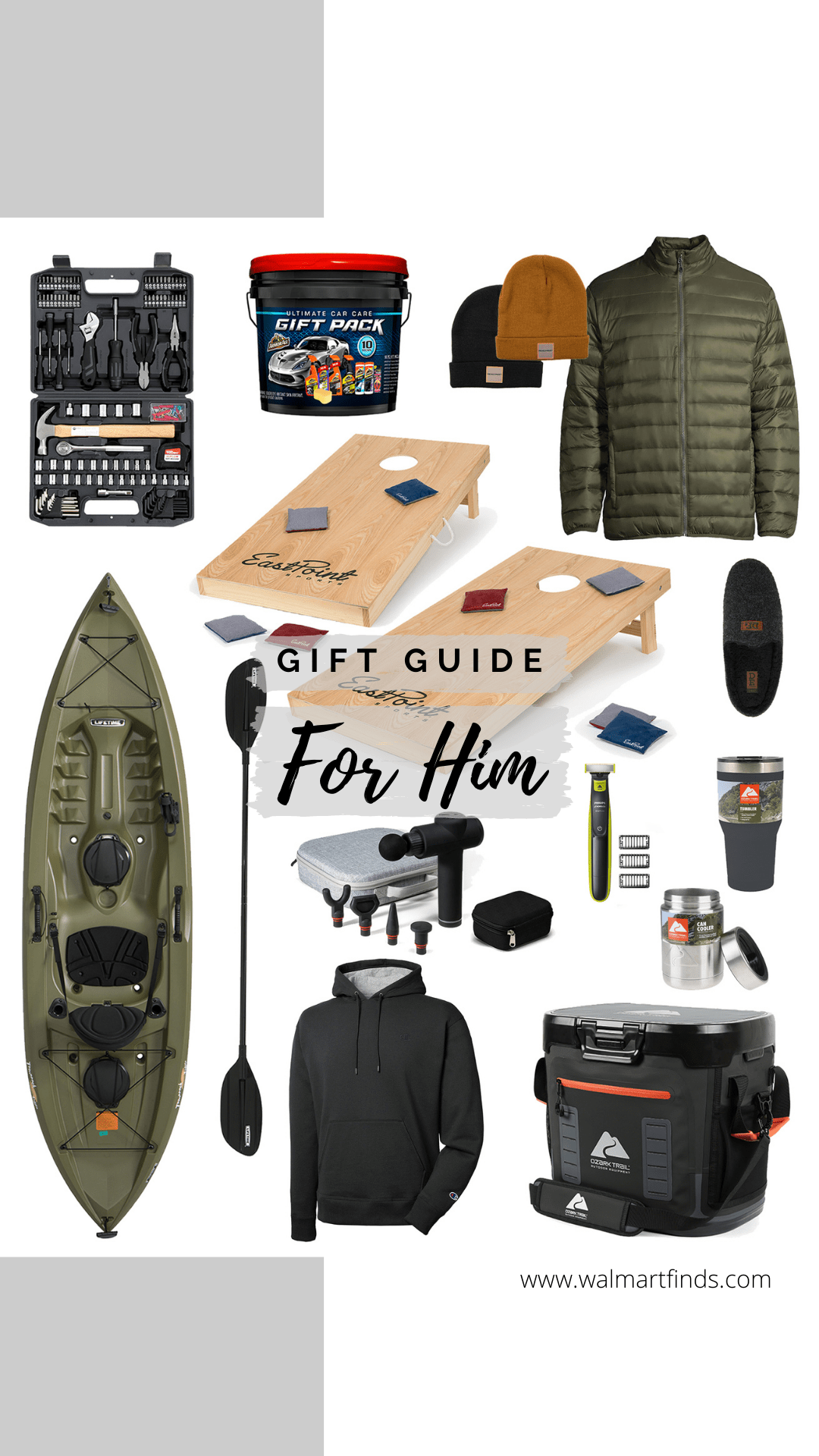 Gift Guide - For Him - kayak, slippers, cooler, razor, massage gun, corn hole boards and more