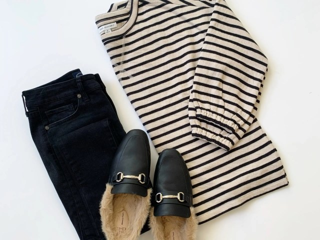 Free Assembly Drop Shoulder Sweatshirt, Scoop Jeans and Time and Tru Faux Fur Mules