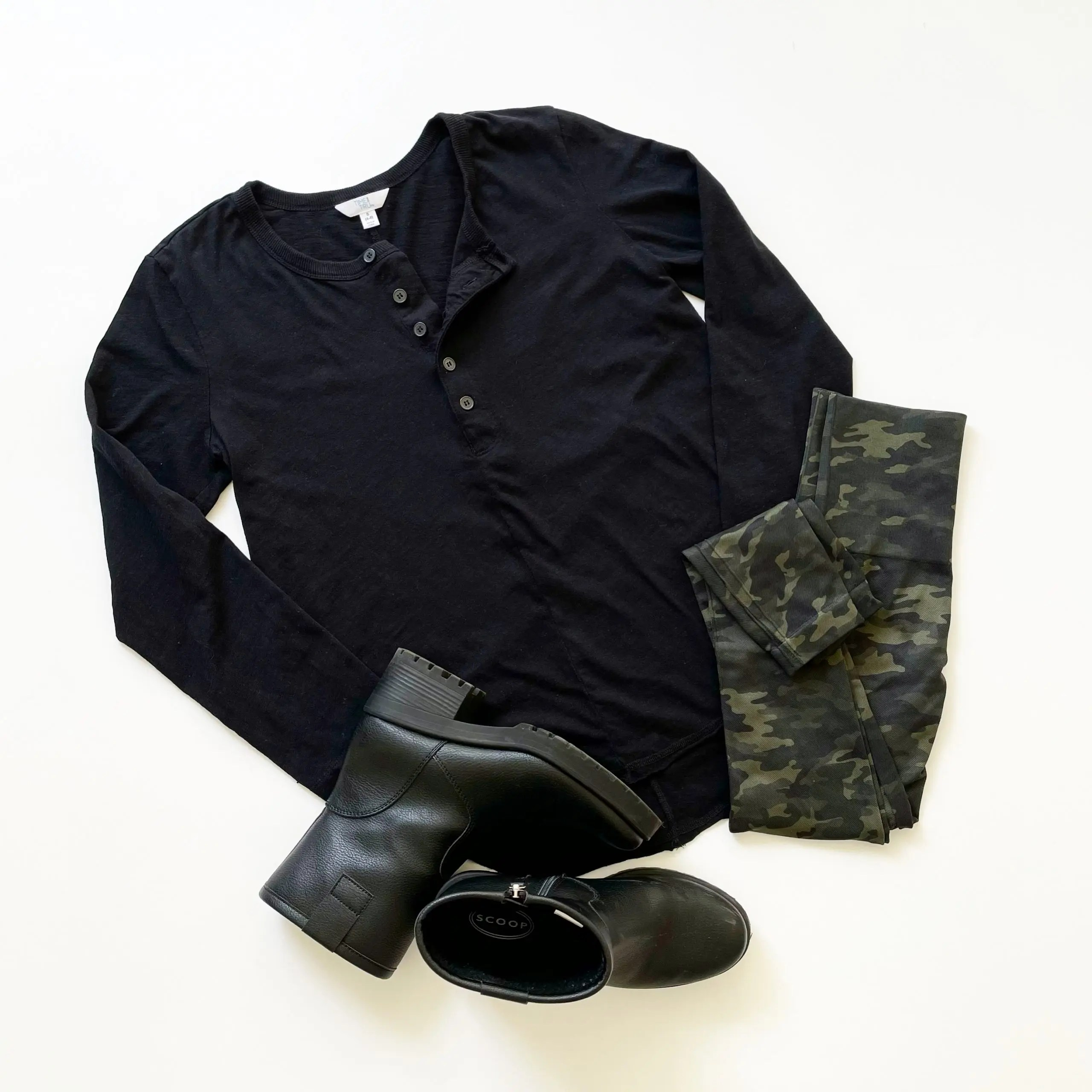 Time and Tru Long Sleeve Henley, Scoop Lug Boots and Spanx Seamless Leggings