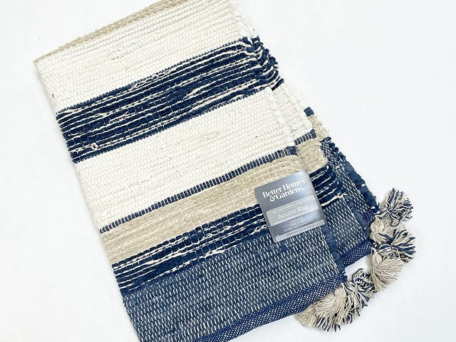 Better Homes & Gardens Navy, White & Tan Striped Accent Rug with Tassels