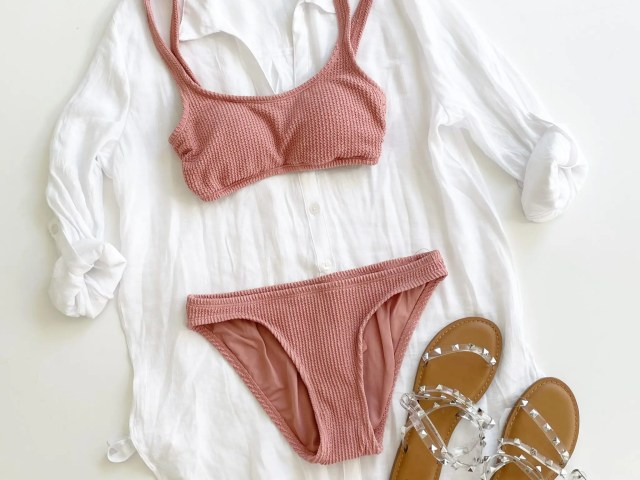 Time and Tru Button Coverup, Crinkle Swimsuit and Studded Sandals