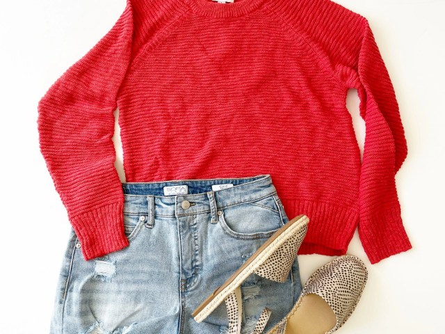 Free Assembly Raglan Sweater, Sofia Vergara Jean Shorts and Time and Tru Espadrilles