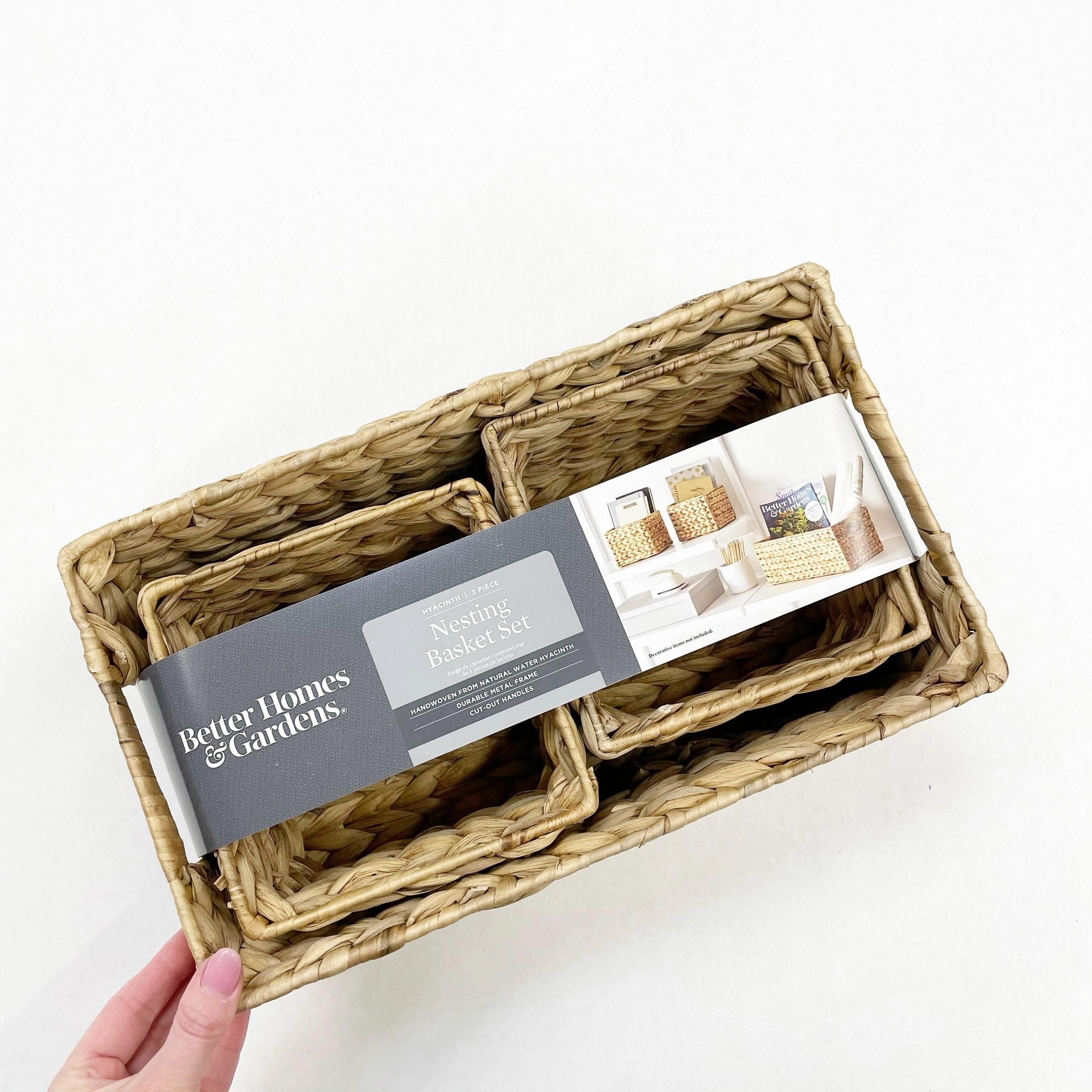 Better Homes & Gardens Woven Natural Water Hyacinth Nesting Basket Set