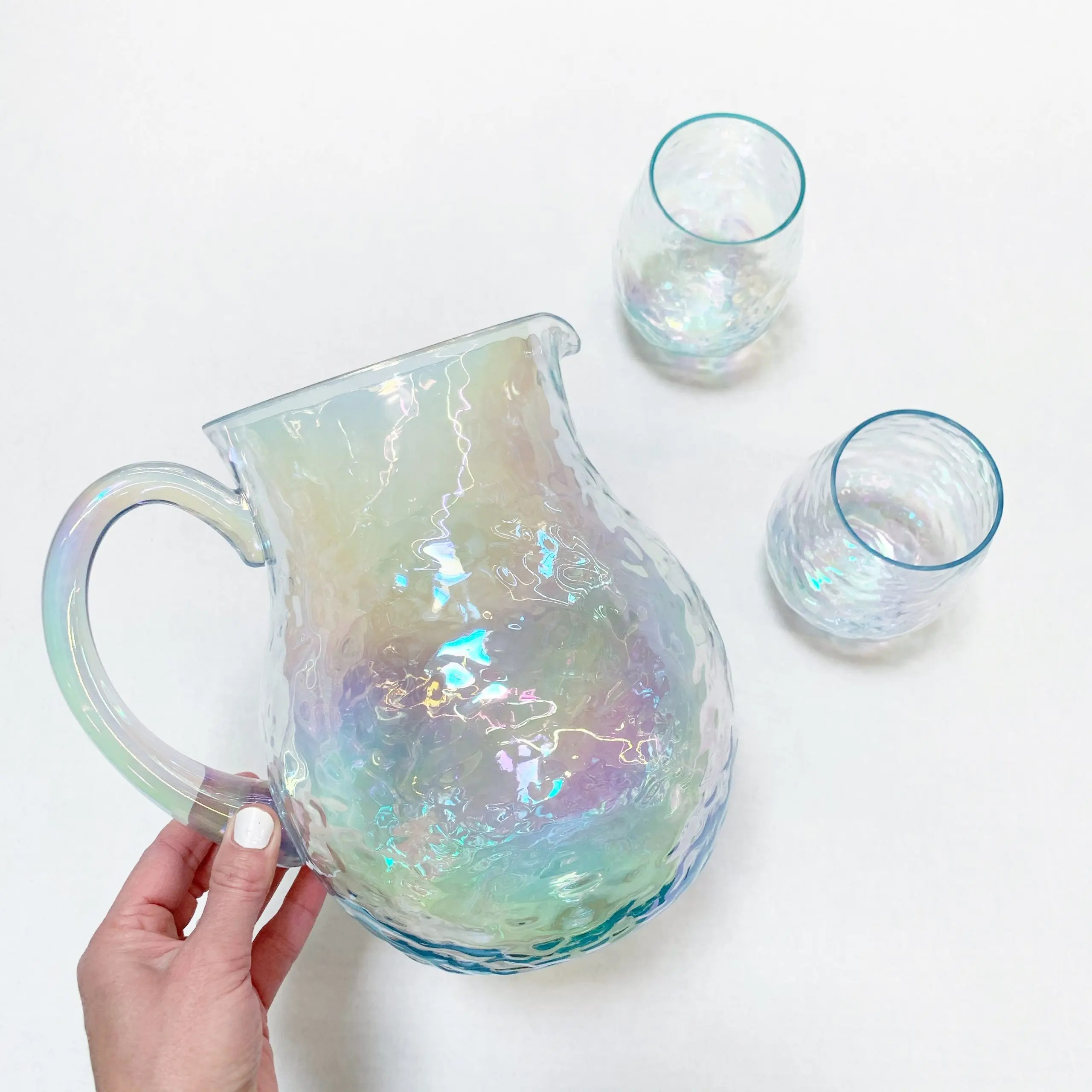 Better Homes & Gardens Acrylic Luster Pitcher and Stemless Wine Glass