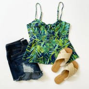 Sofia Vergara Knot Front Peplum Top and Shorts + Melrose Ave Raffia Sandals