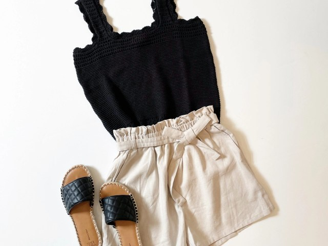 Scoop Linen-Blend Paperbag Shorts , Free Assembly Crochet Tank Top and Time and Tru