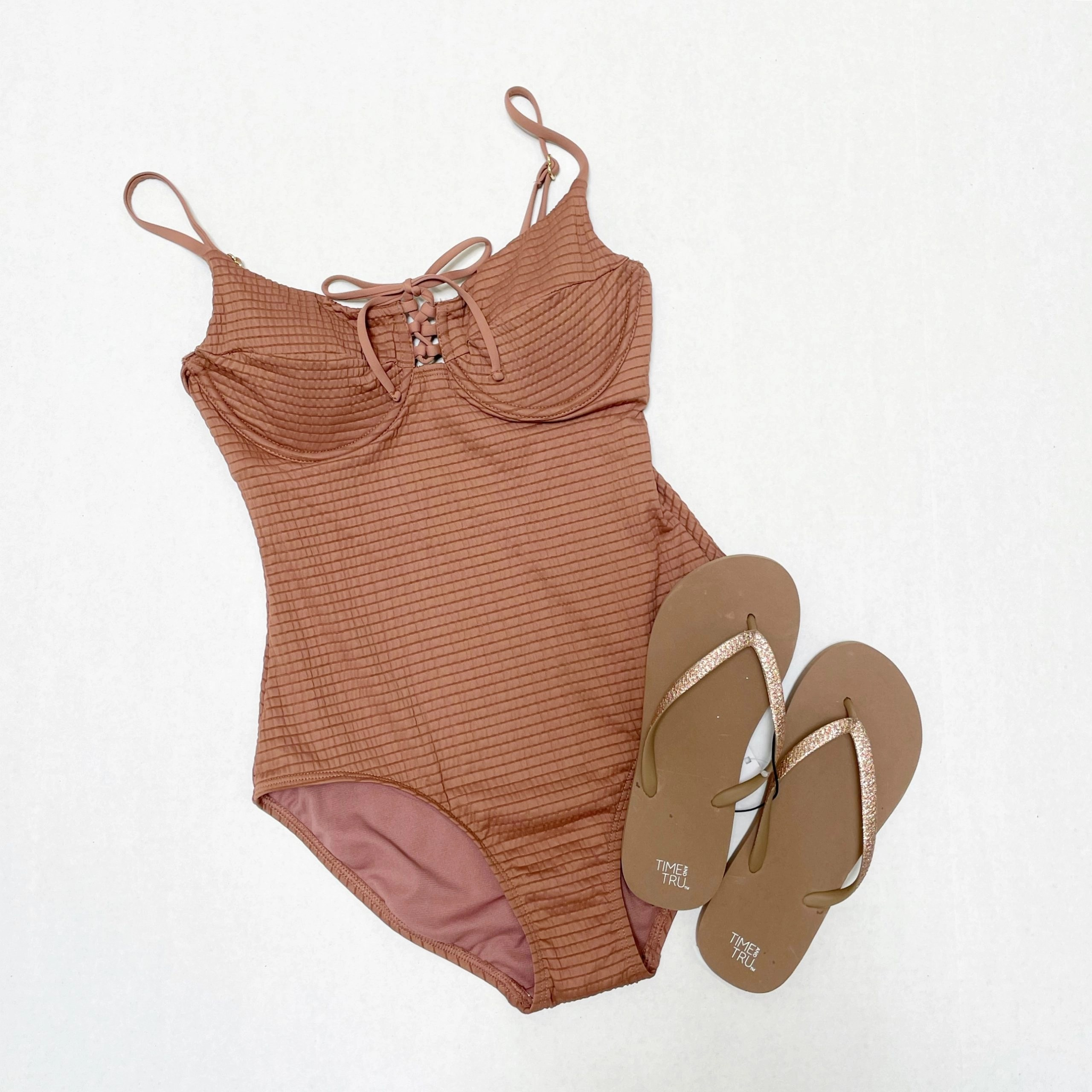 Time and Tru Chocolate Mousse Smocked One-Piece Swimsuit and Flip Flops