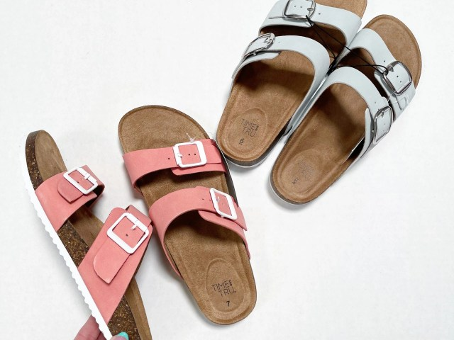 Time and Tru Two-Band Footbed Slides