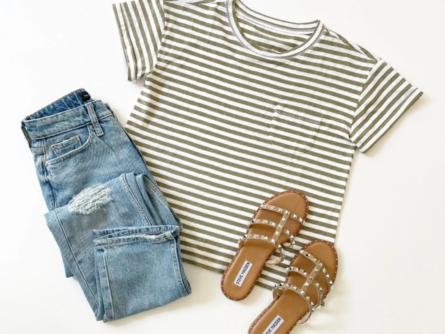 Free Assembly Cuffed Pocket T-Shirt, Original 90's Straight Jeans and Steve Madden Averill Studded Sandal