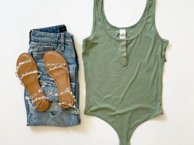 Sofia Vergara Ribbed Henley Bodysuit, Free Assembly 90's Straight Jeans and Time and Tru Studded Sandals