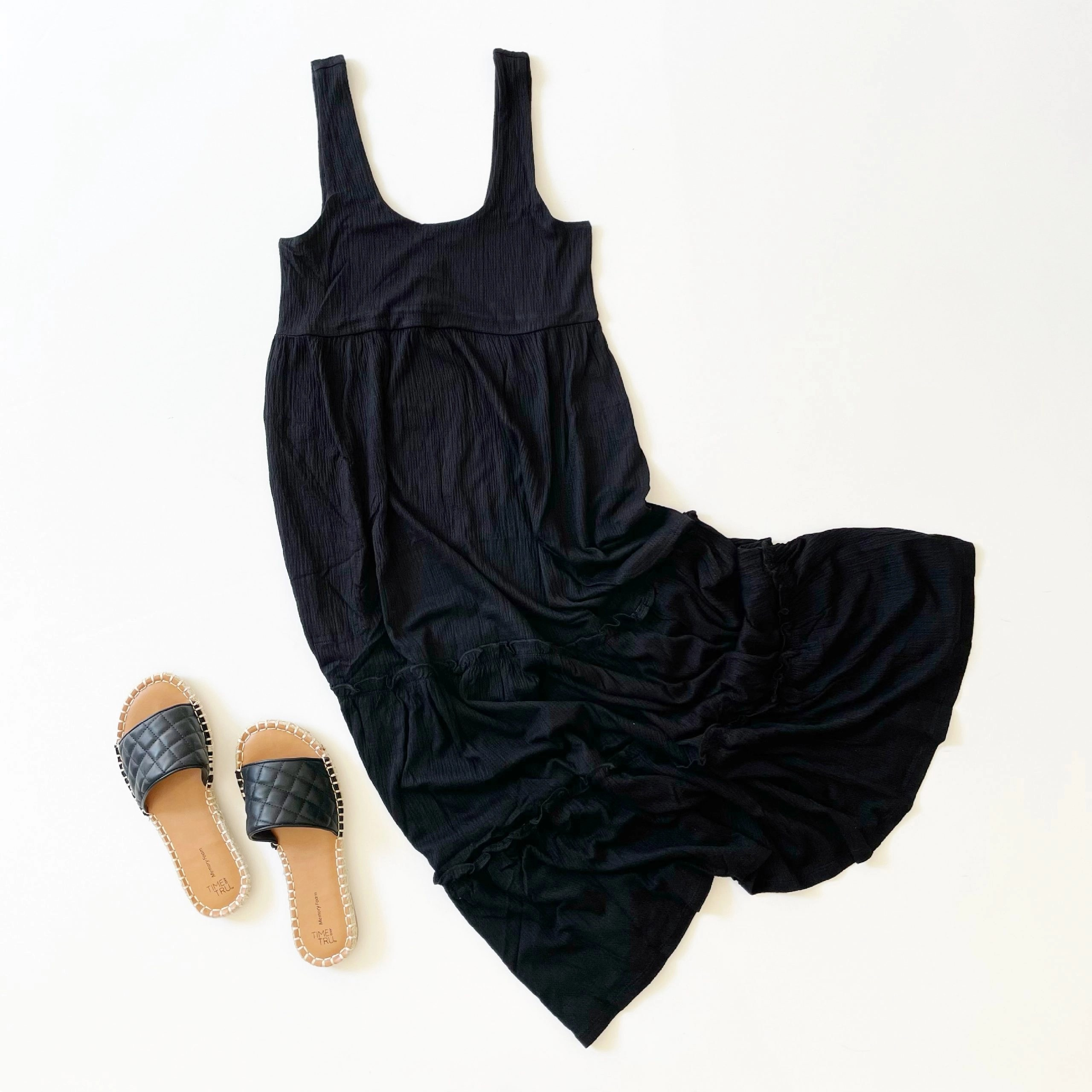 Scoop Sleeveless Tiered Midi Sundress and Time and Tru Quilted Espadrille Slides