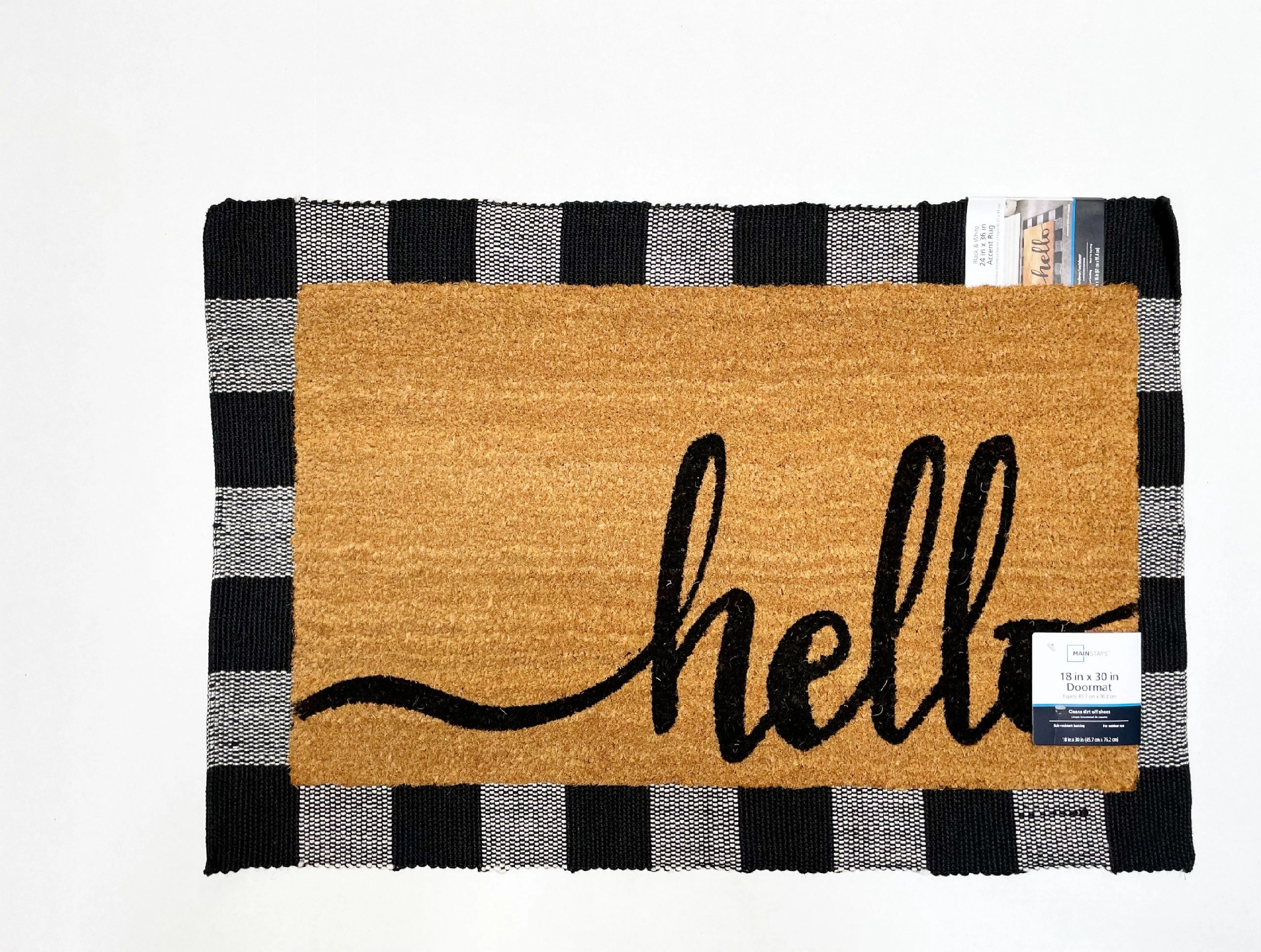 Mainstays Hello Coir Doormat and Black & White Checkered Accent Rug