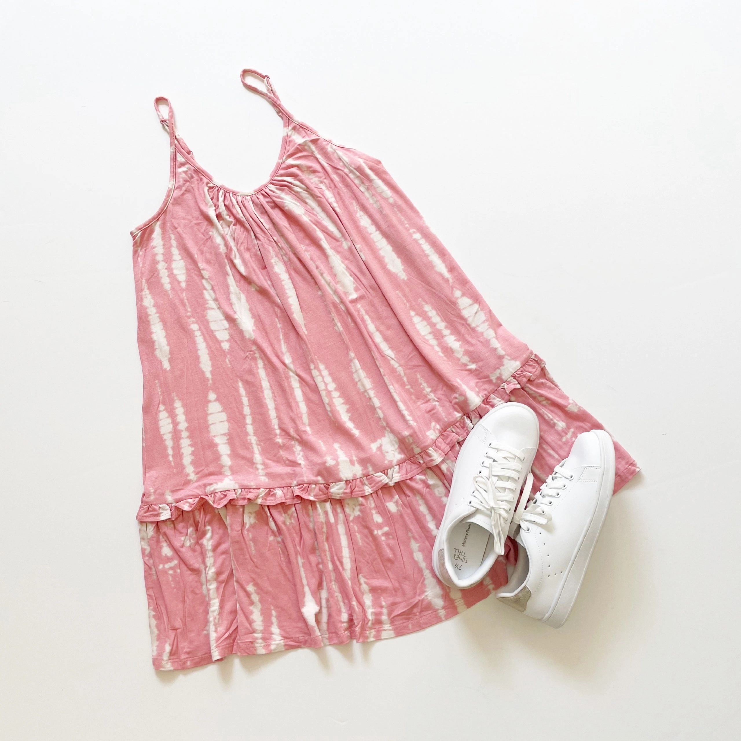 Scoop Pink Tie Dye Cami Sundress and Time and Tru Classic Court Sneaker