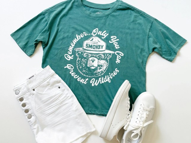 Smokey the Bear Short Sleeve T-Shirt, Time and Tru 5-Button Shorts and Classic Court Sneaker