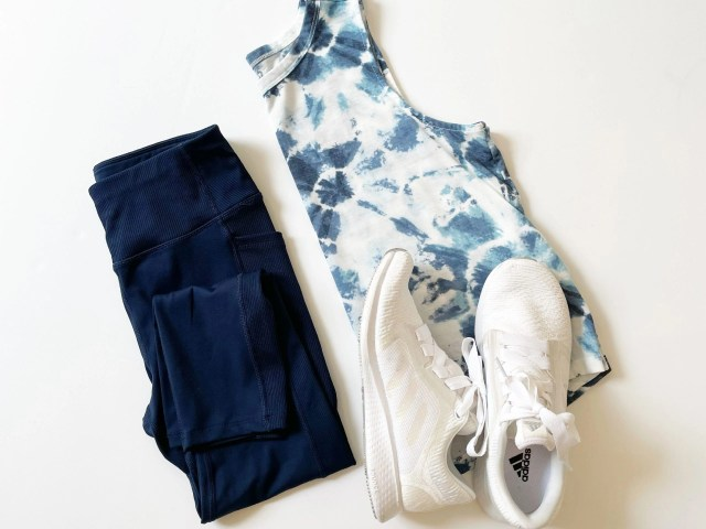 Athletic Works Performance Capri Leggings, Old Navy UltraLite Crop Tank Top and Adidas Edge Luxe 3 Running Shoes