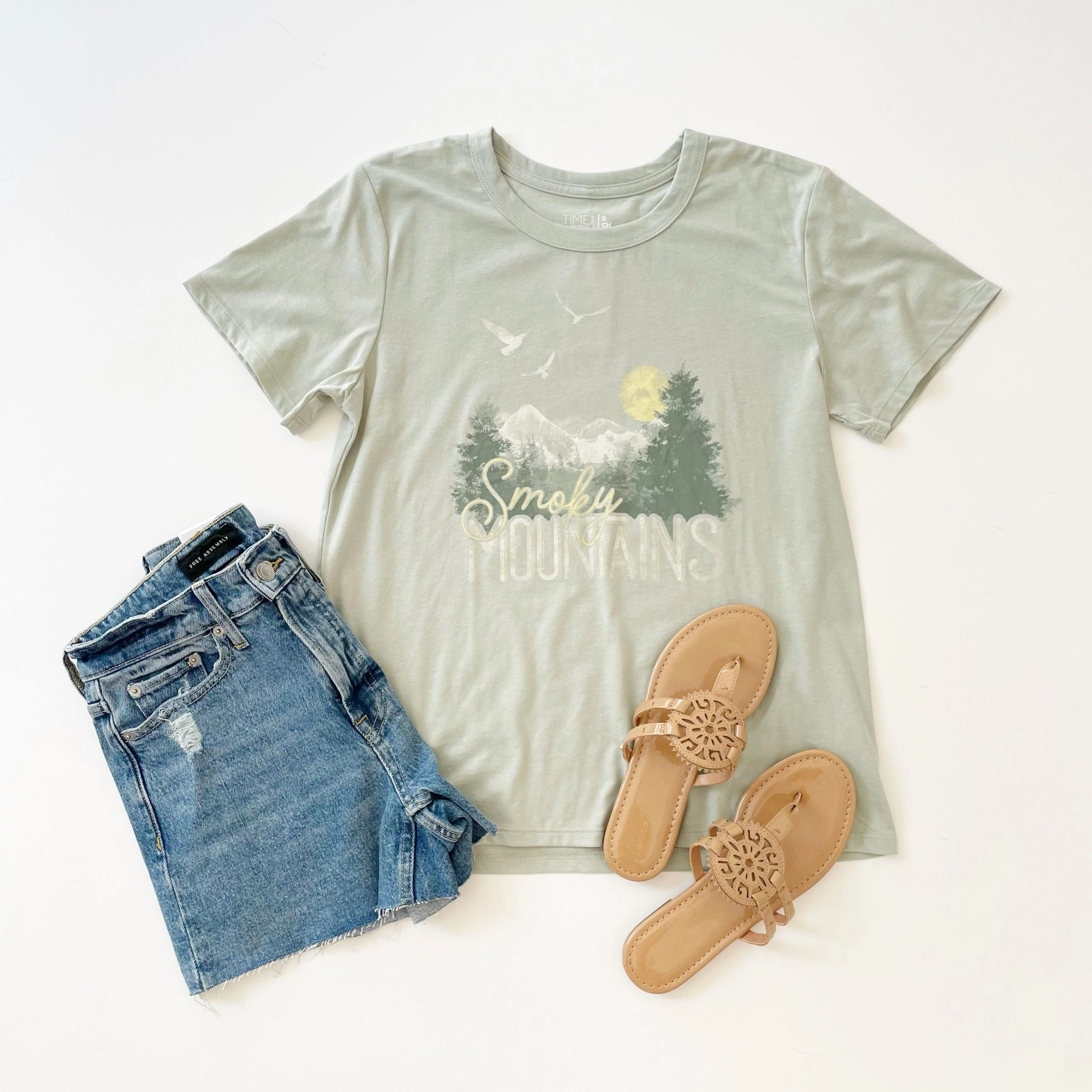 Time and Tru Smoky Mountains Graphic T-Shirt, Free Assembly Denim Shorts and Circus by Sam Edelman Medallion Sandal