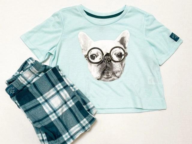 Justice Girls Short Sleeve Top and Plaid Pant Pajama Set