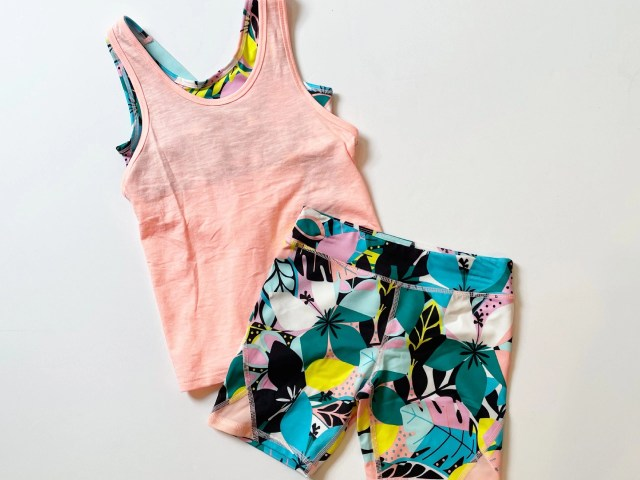 Athletic Works Girls Active Tank Top and Printed Bike Shorts