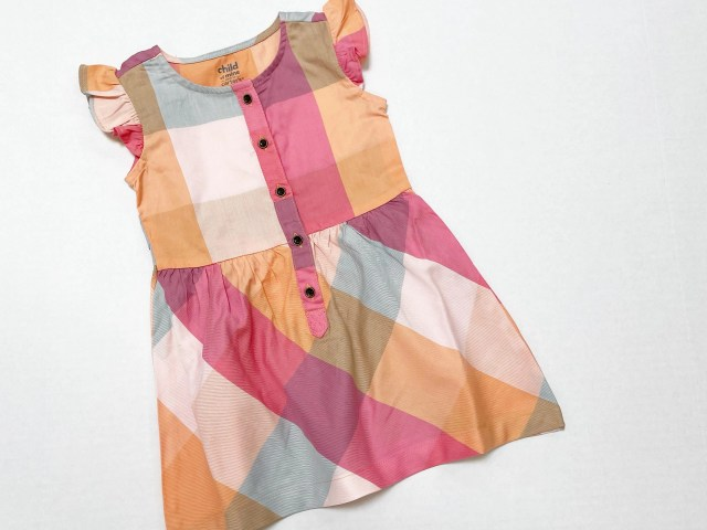 Child of Mine by Carter's Plaid Flutter Sleeve Button-Front Dress