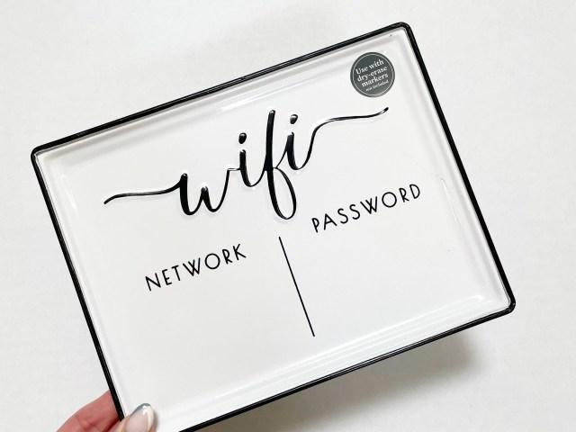 Better Homes & Gardens White Farmhouse Tabletop Dry Erase WiFi Password Sign