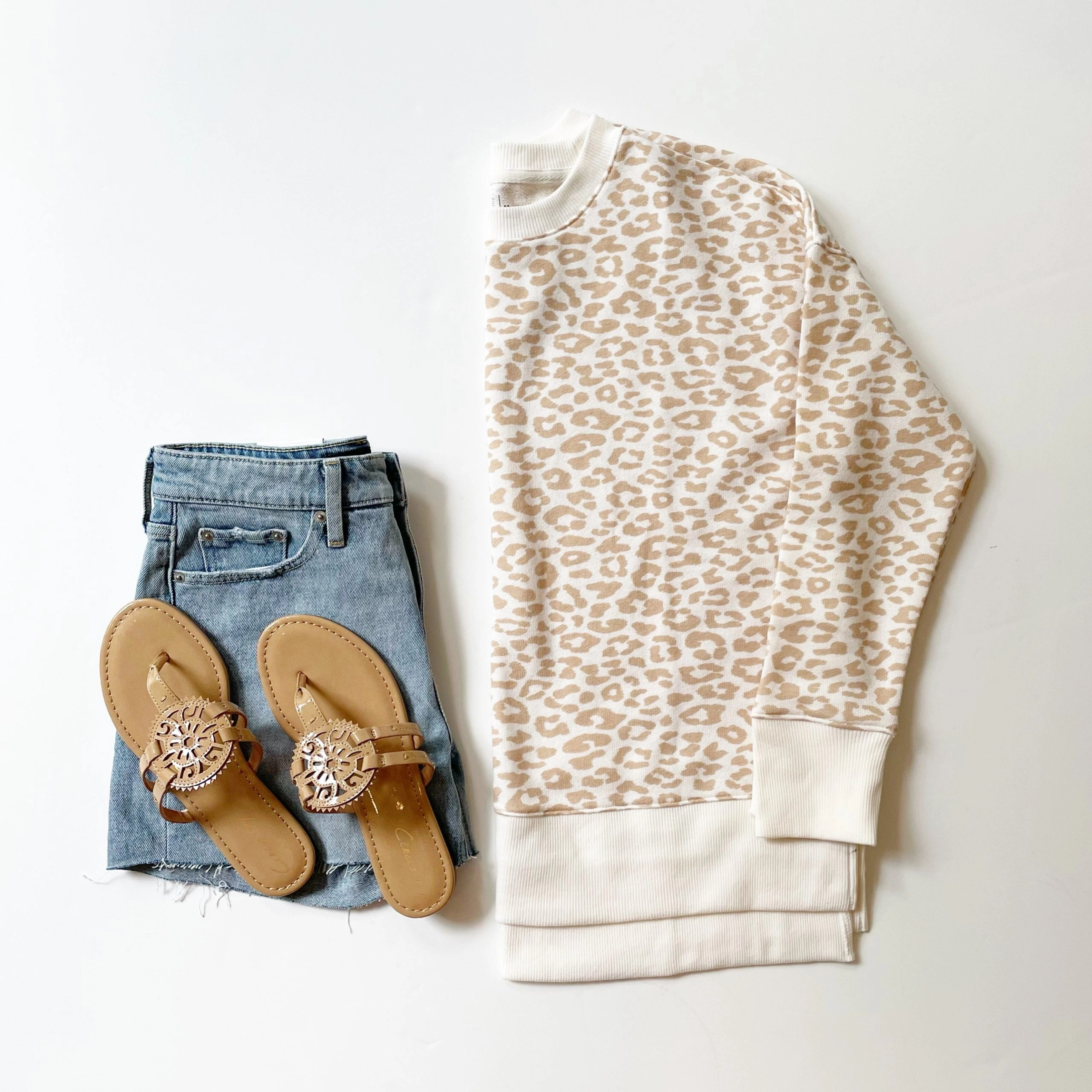 Time and True Leopard Print Crewneck Sweatshirt, Free Assembly Demin Shorts, and Medallion Sandals
