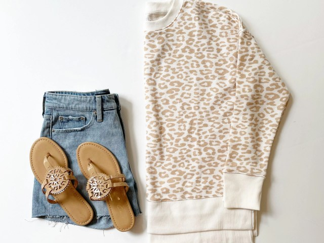 Time and Tru Leopard Print Crewneck Sweatshirt, Free Assembly Demin Shorts, and Medallion Sandals