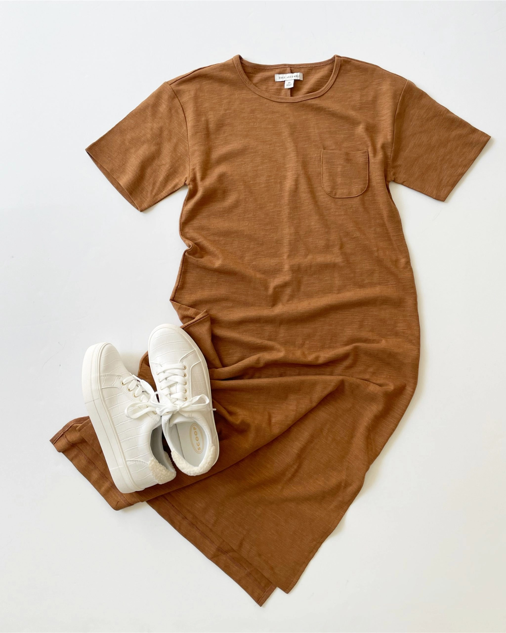 Free Assembly Pocket Midi Dress with Short Sleeves and Scoop Faux Croc Sneakers