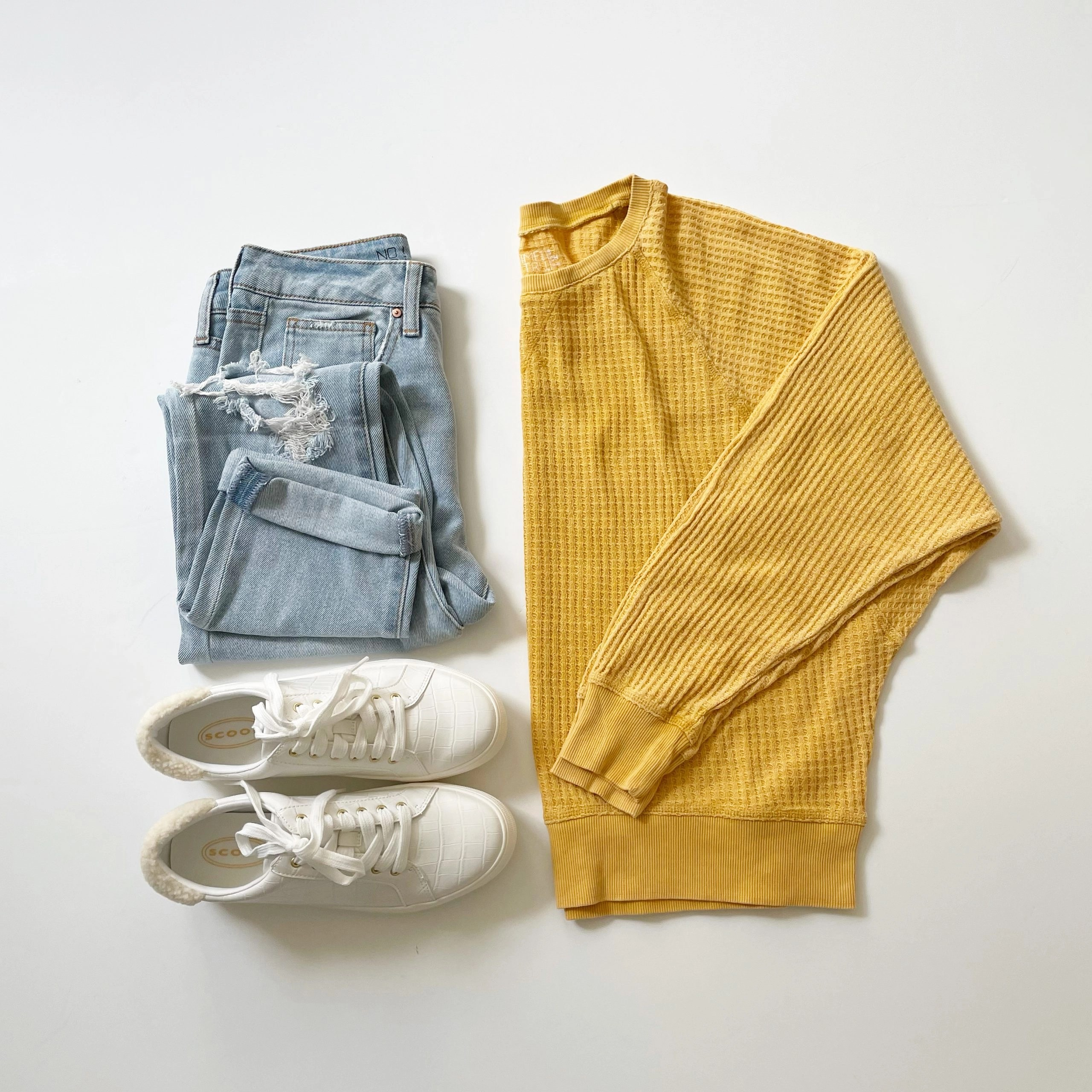 Time and Tru Waffle Knit Pullover, No Boundaries Girlfriend Jeans and Scoop Faux Croc Sneakers