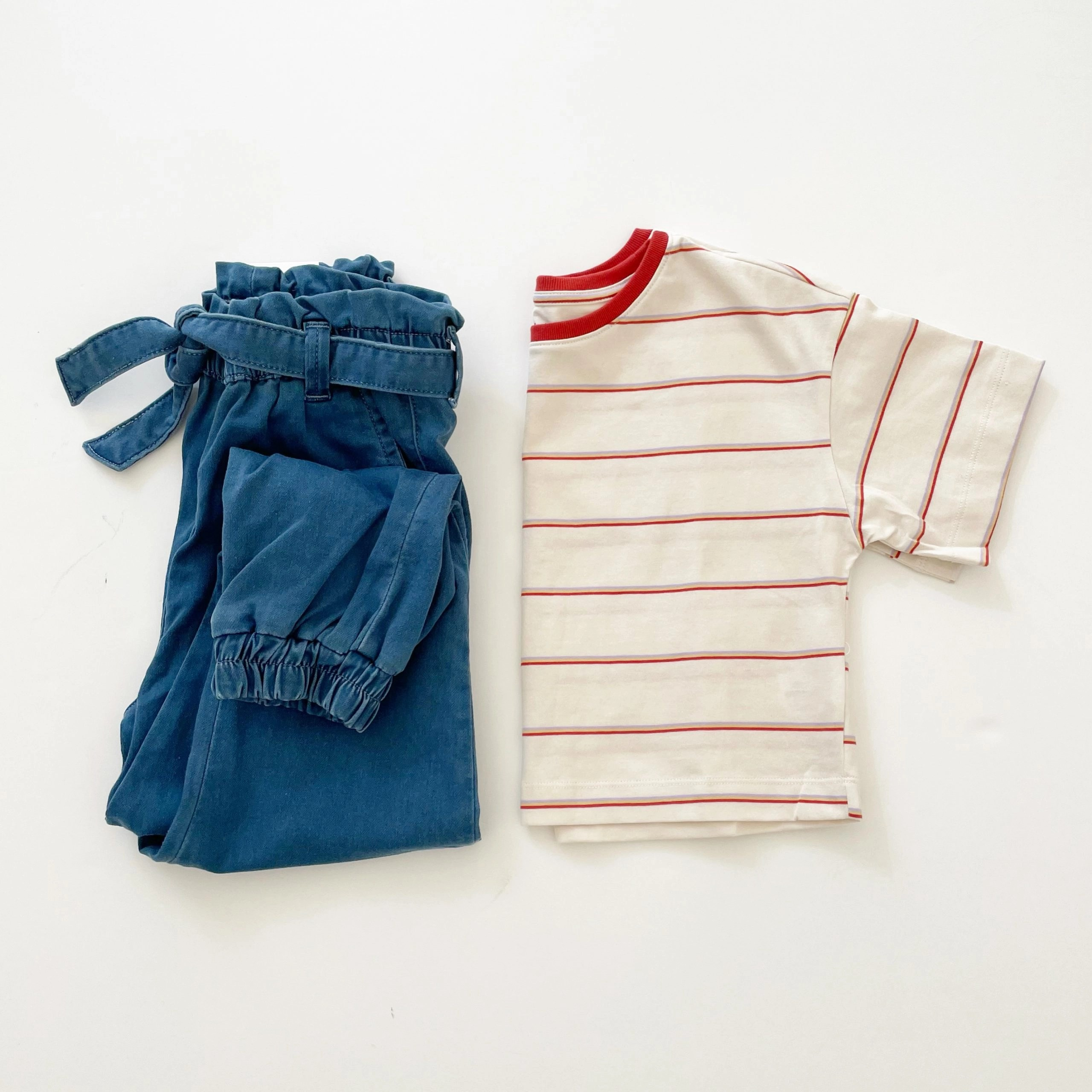 Free Assembly Girls Denim Joggers and Striped Cropped T-Shirt