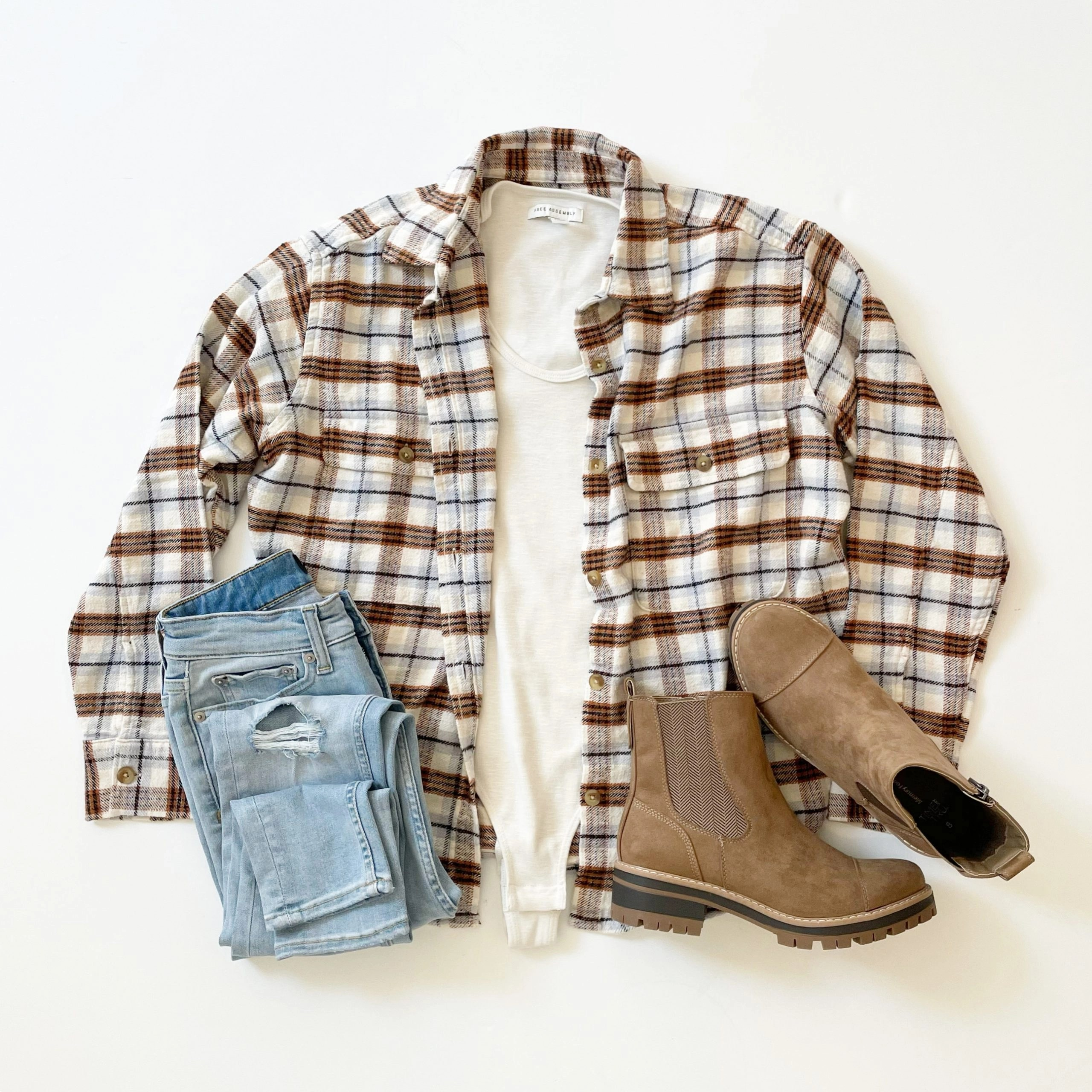 Free Assembly Plaid Long Sleeve Work Shirt, U-Neck Bodysuit, High Rise Skinny Jeans and Time and Tru Chelsea Lug Boot
