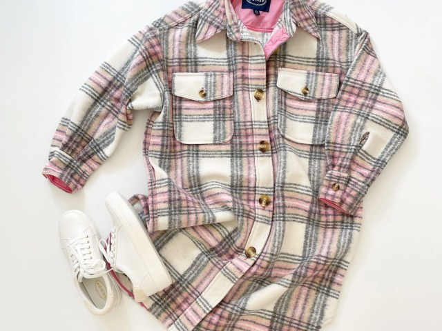 Scoop Long Sleeve Oversized Plaid Shacket and Faux Croc Sneakers