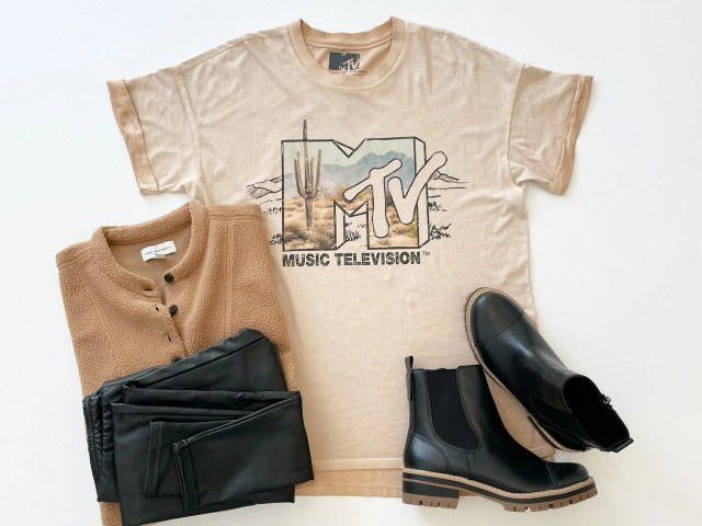Scoop MTV Desert Graphic T-Shirt, Free Assembly Teddy Top, Scoop Vegan Leather Leggings and Time and Tru Lug Boots