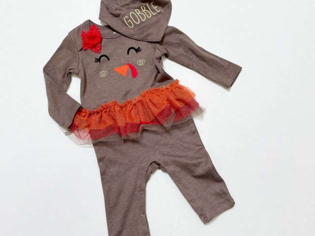 Way To Celebrate Baby Girls Thanksgiving Turkey Romper and My First Thanksgiving Outfit